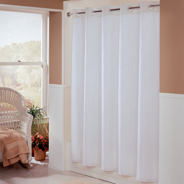 Hookless HBH01EBM01 White Embossed Moire Shower Curtain With Matching Flat  Flex On Rings And Weighted Corner Magnets ...