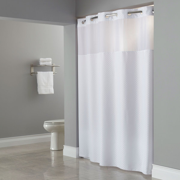 Hookless HBH72PTM0177 White RePET One PLANET Daytona Shower Curtain With Matching Flat Flex On Rings Weighted Corner Magnets And Poly Voile Translucent
