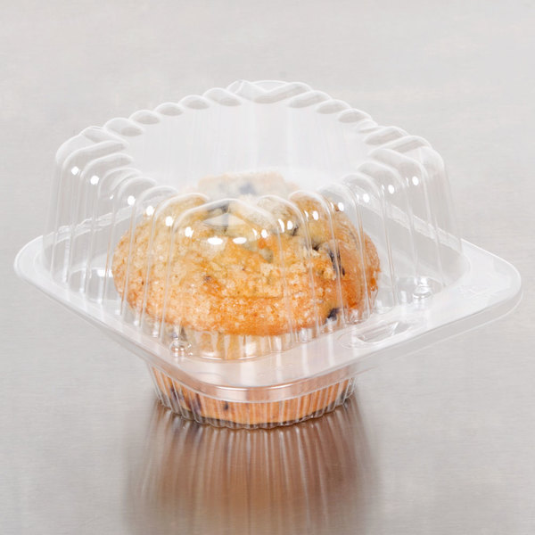 Polar Pak 2409 1 Compartment Clear Muffin Takeout Container - 100/Pack Main Image 4