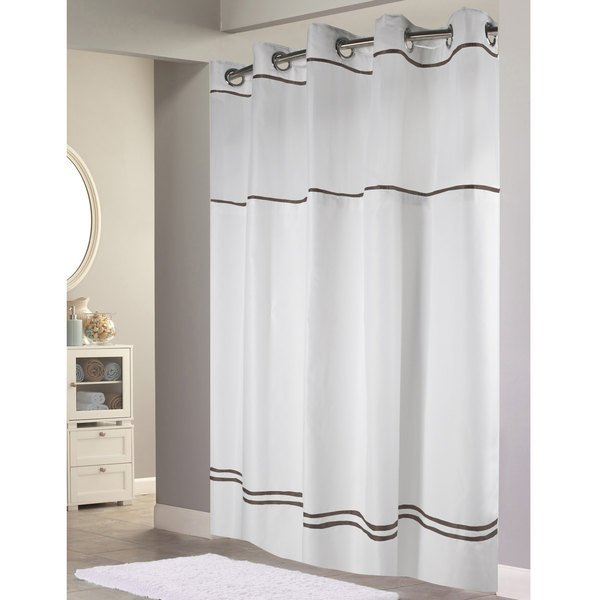 HBH40MYS0129SL77 White with Brown Stripe Escape Shower Curtain ...