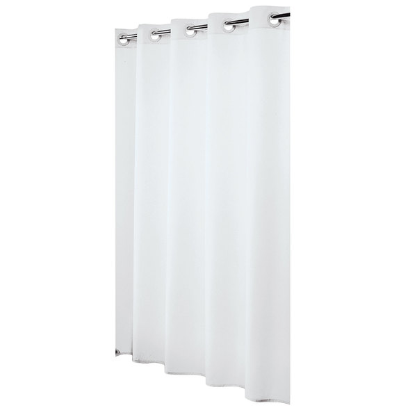 Hookless HBH31LIN01 White Nylon Shower Curtain with Matching Flat ...