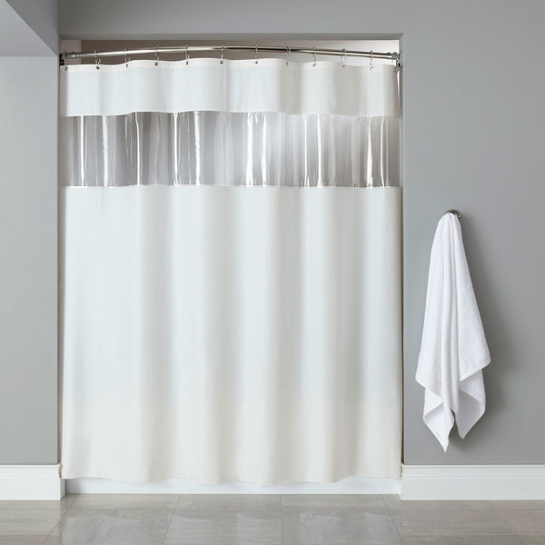 """Hooked HBG03VIS0172 White 6-Gauge Vinyl Vision Shower Curtain with Vinyl Window and Chrome-Plated Copper Grommets - 72"""" x 72"""""""