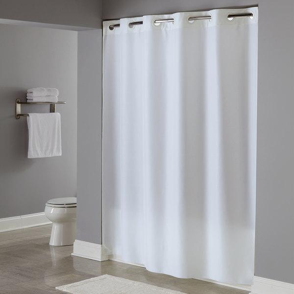 HBH40PLW01 White Plainweave Shower Curtain with Matching Flat Flex ...