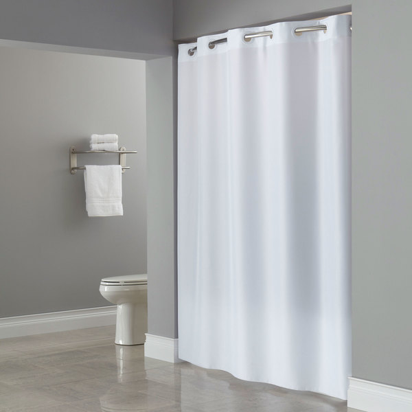 HBH40PLW01L White ADA Size Plainweave Shower Curtain with Matching ...
