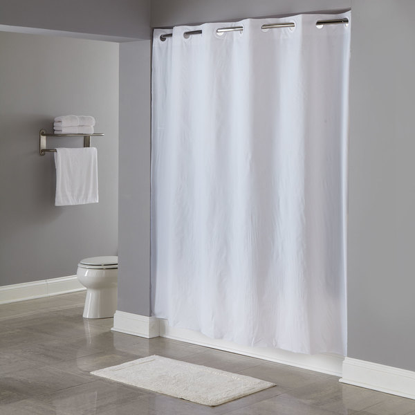 Hookless HBH04PDT01L White 8 Gauge Pin Dot Shower Curtain With Matching Flat Flex On Rings And