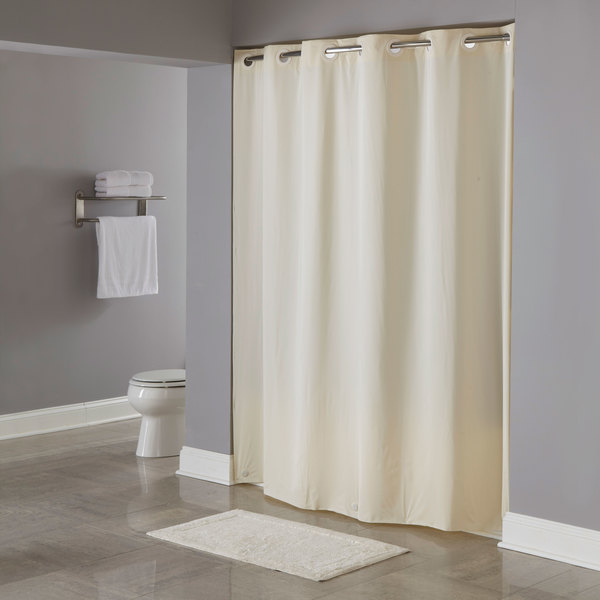 Hookless HBH04PDT05 Beige 8 Gauge Pin Dot Shower Curtain With Matching Flat Flex On Rings And