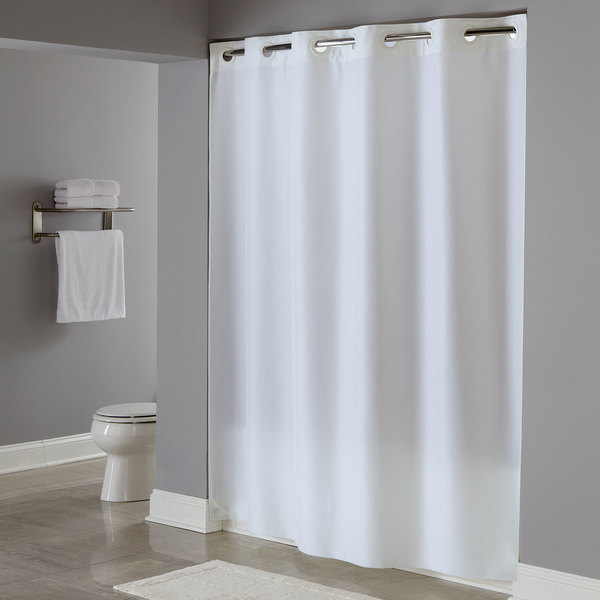Hookless HBH40PLW01X White Plainweave Shower Curtain With Matching Flat Flex On Rings And Weighted Corner Magnets