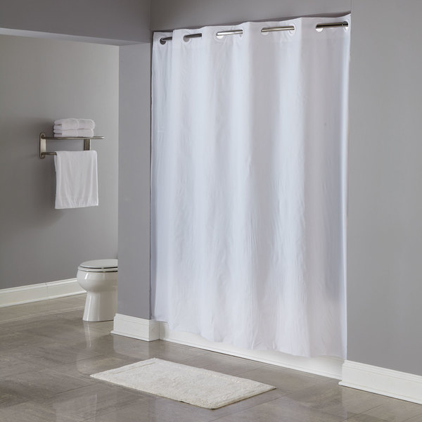 Hookless HBH04PDT01 White 8 Gauge Pin Dot Shower Curtain With