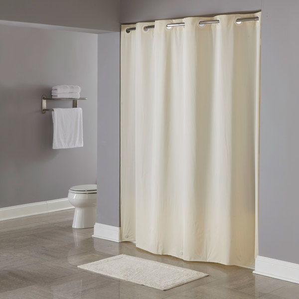 Hookless HBH04PDT05L Beige 8 Gauge Pin Dot Shower Curtain With Matching Flat Flex On Rings And