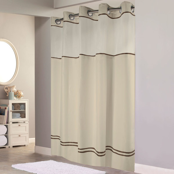 Hookless HBH40MYS0529SL77 Sand With Brown Stripe Escape Shower Curtain Chrome Raised Flex On Rings Its A Snap Polyester Liner