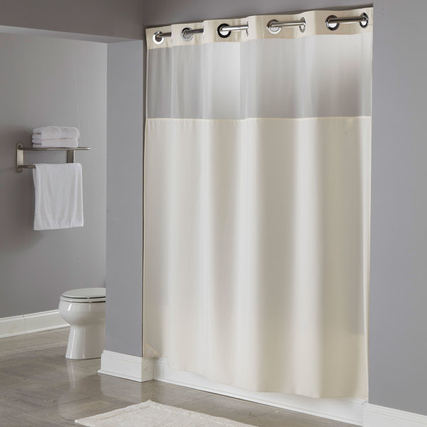 Hookless HBH49MYS05SL74 Beige Illusion Shower Curtain With Chrome Raised Flex On Rings Its A Snap Polyester Liner Magnets