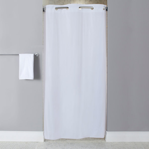 Hookless HBH10GA014274 White Stall Size 10 Gauge Vinyl Shower Curtain With Matching Flat Flex On Rings