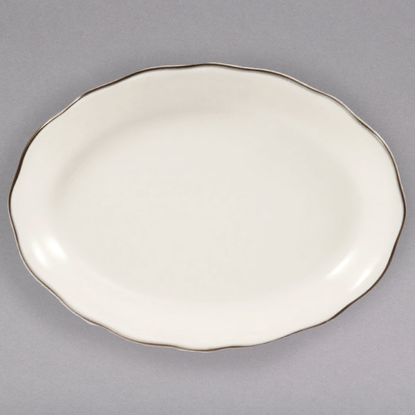 """15 1/2"""" Ivory (American White) Scalloped Edge China Platter with Black Band - 12/Case"""
