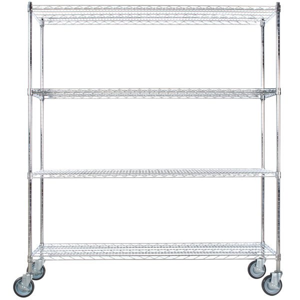 """Regency 24"""" x 60"""" NSF Chrome 4-Shelf Kit with 64"""" Posts and Casters Main Image 1"""