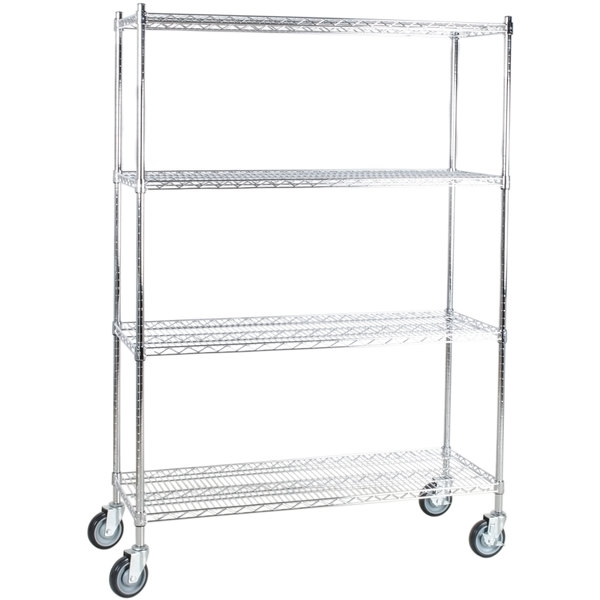 "Regency 18"" x 48"" NSF Chrome Shelf Kit with 64"" Posts and Casters"