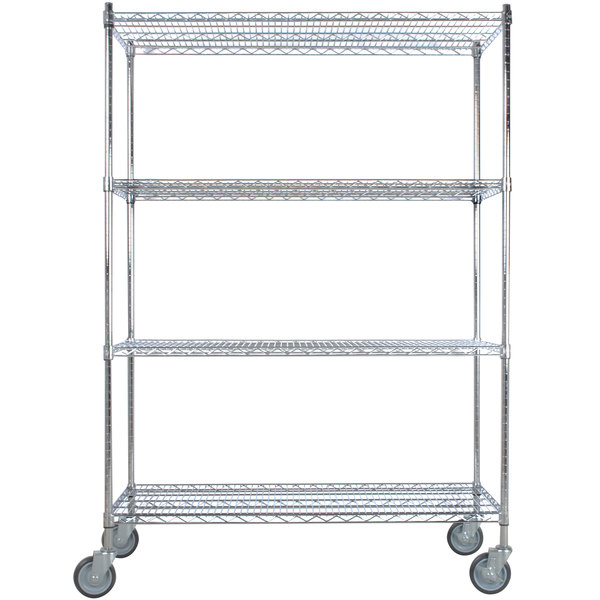 "Regency 24"" x 48"" NSF Chrome Shelf Kit with 64"" Posts and Casters"