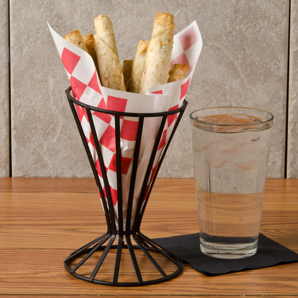 """Choice 7"""" x 6 1/2"""" Red Check Wire Cone Basket Liner / Deli Wrap / Double Open Bag - 2000/Case"""