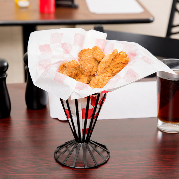 """Choice 9"""" x 10"""" Red Check Wire Cone Basket Liner / Deli Wrap / Double Open Bag - 1000/Case Main Image 3"""
