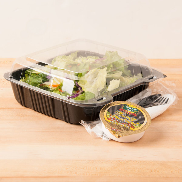 """Polar Pak 29588 8"""" x 8"""" PET Black and Clear Hinged Take-out Container - 200/Case"""