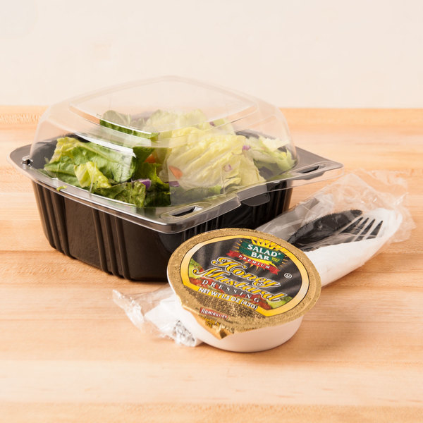 """Polar Pak 29567 5"""" x 5"""" PET Black and Clear Hinged Take-out Container - 500/Case Main Image 5"""