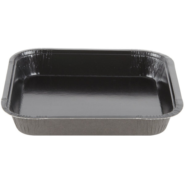 Solut 43345 8 inch x 8 inch Bake and Show Square Paperboard Brownie / Cake Pan Black - 250/Case