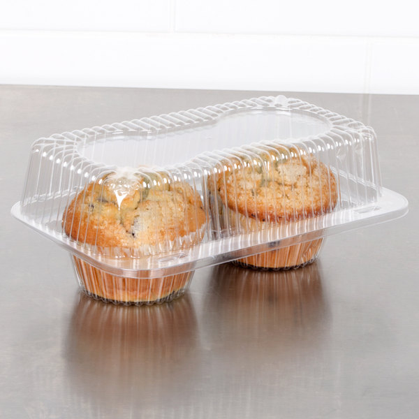 Polar Pak 2126 2 Compartment Hinged Clear Muffin Takeout Container - 250/Case Main Image 3