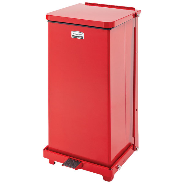 Rubbermaid FGST12EPLRD The Defenders 12 Gallon Steel Red Square Medical Step Can with 6.5 Rigid Plastic Liner Main Image 1