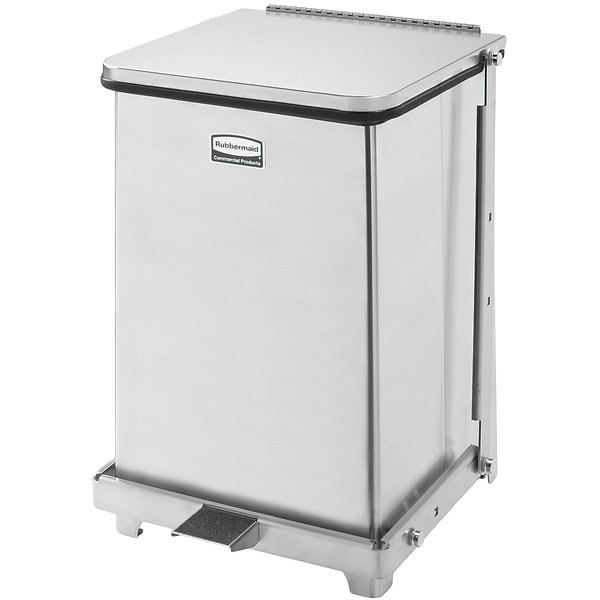 Rubbermaid FGST7SSPL The Defenders Stainless Steel Square Medical Step Can with Rigid Plastic Liner 7 Gallon