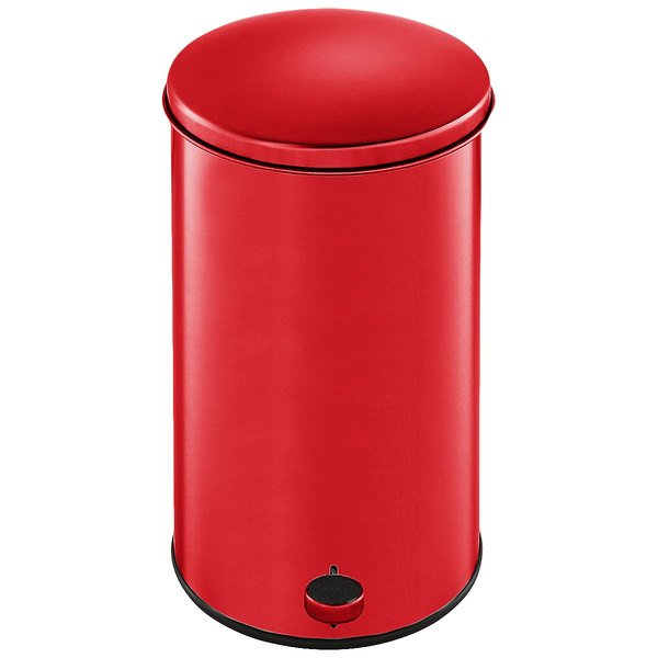 Rubbermaid FGST35EPLRD The Defenders Steel Round Red Medical Step Can with Rigid Plastic Liner 3.5 Gallon