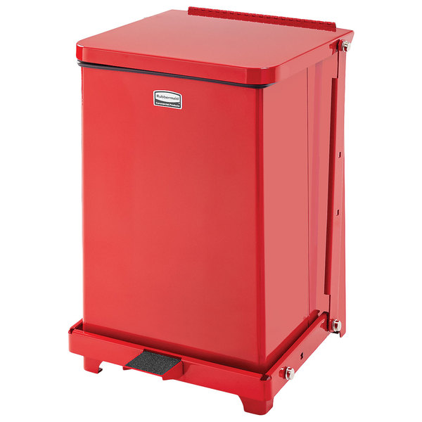 Rubbermaid FGST7EPLRD The Defenders Steel Square Red Medical Step Can with Rigid Plastic Liner 7 Gallon