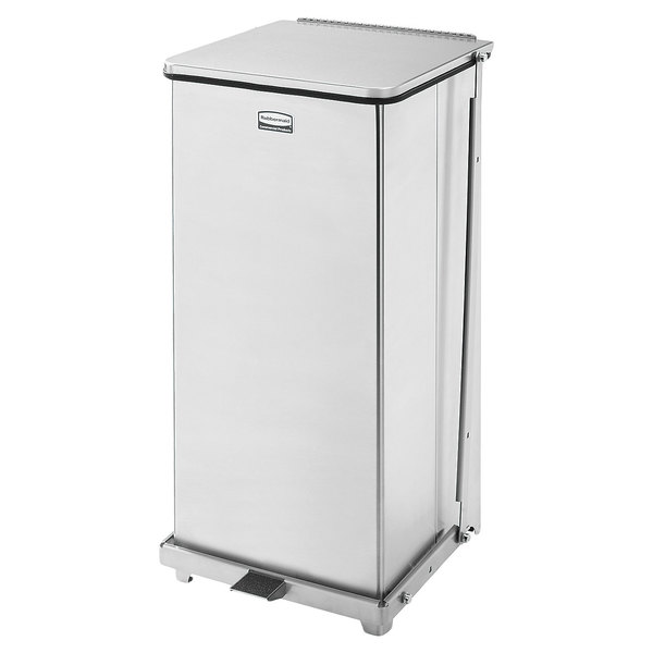 Rubbermaid FGST24SSPL The Defenders Stainless Steel Square Medical Step Can with Rigid Plastic Liner 24 Gallon