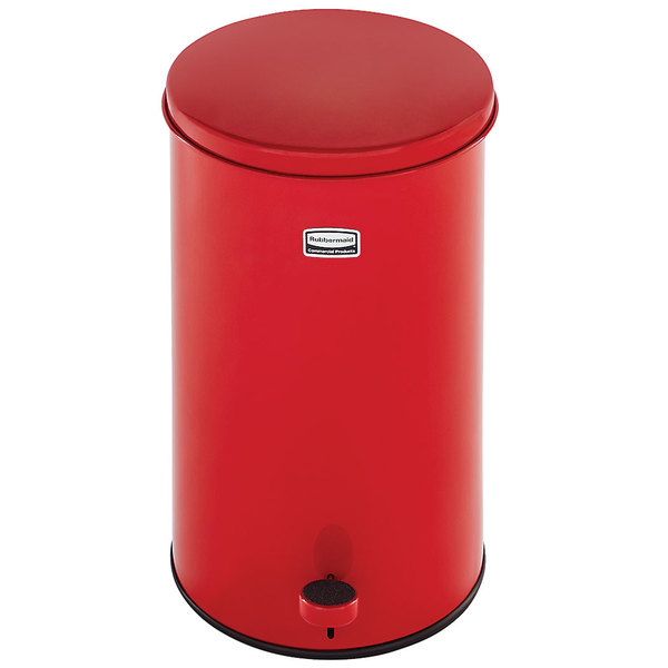 Rubbermaid FGST35EGLRD The Defenders Steel Round Red Medical Step Can with Galvanized Liner 3.5 Gallon