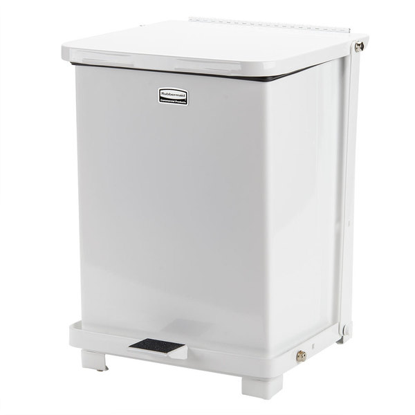 Rubbermaid FGST7ERBWH The Defenders Steel Square White Medical Step Can with Retainer Bands 7 Gallon