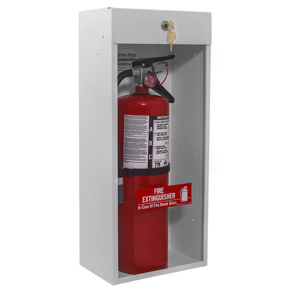 Strike First SF-999-HT Surface Mount Fire Extinguisher Cabinet for 10# Fire Extinguisher with Breaker Bar and Safety Locks Main Image 1