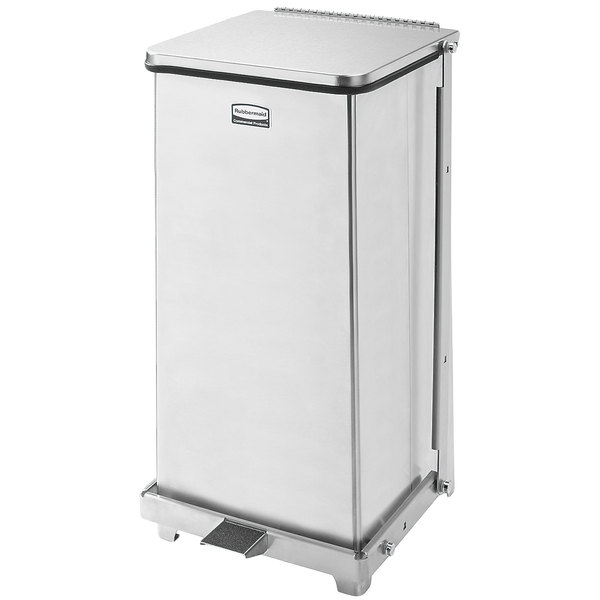 Rubbermaid FGST12SSPL The Defenders Stainless Steel Square Medical Step Can with Rigid Plastic Liner 12 Gallon