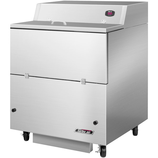 "Turbo Air TMKC-34S-N-SA Super Deluxe 34"" Single Sided Stainless Steel Milk Cooler with Aluminum Interior"