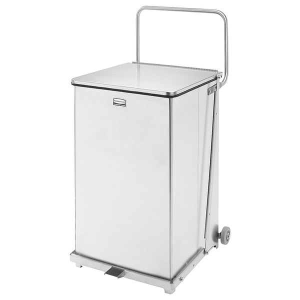 Rubbermaid FGQST40SWPL The Silent Defenders Square Stainless Steel Quiet Step Can with Wheels and Rigid Plastic Liner 160 Qt. / 40 Gallon