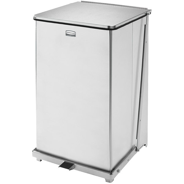 Rubbermaid FGQST40SSPL The Silent Defenders Square Stainless Steel Quiet Step Can with Rigid Plastic Liner 40 Gallon