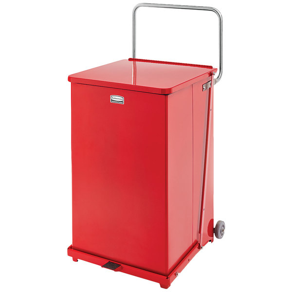 Rubbermaid FGQST40EWRBRD The Silent Defenders Red Square Steel Quiet Step Can with Wheels and Retainer Bands 40 Gallon