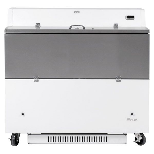 "Turbo Air TMKC-49D-N-WA Super Deluxe 49"" Dual Sided White Vinyl and Stainless Steel Milk Cooler with Aluminum Interior"