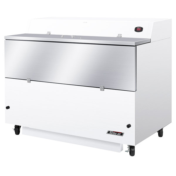 """Turbo Air TMKC-58S-N-WA Super Deluxe 58"""" Single Sided White Vinyl and Stainless Steel Milk Cooler with Aluminum Interior"""