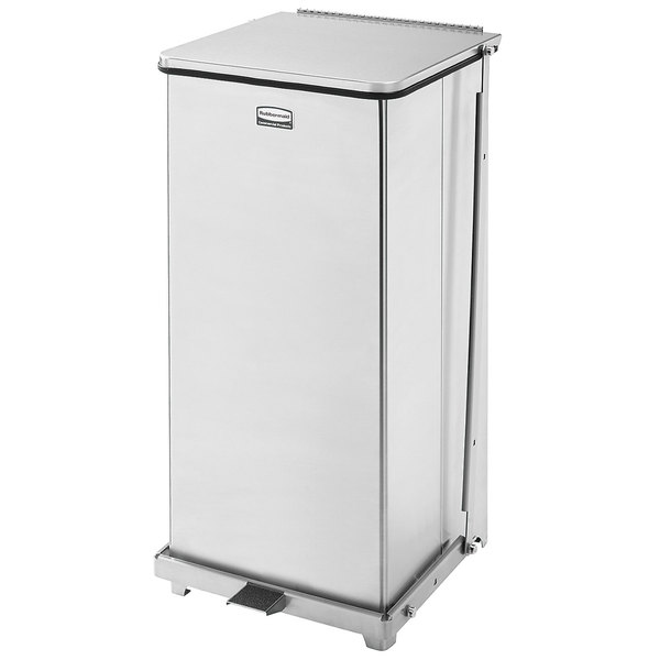 Rubbermaid FGQST24SSPL The Silent Defenders Square Stainless Steel Quiet Step Can with Rigid Plastic Liner 24 Gallon