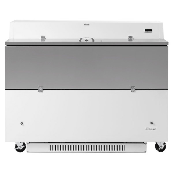 """Turbo Air TMKC-58D-N-WA Super Deluxe 58"""" Dual Sided White Vinyl and Stainless Steel Milk Cooler with Aluminum Interior"""