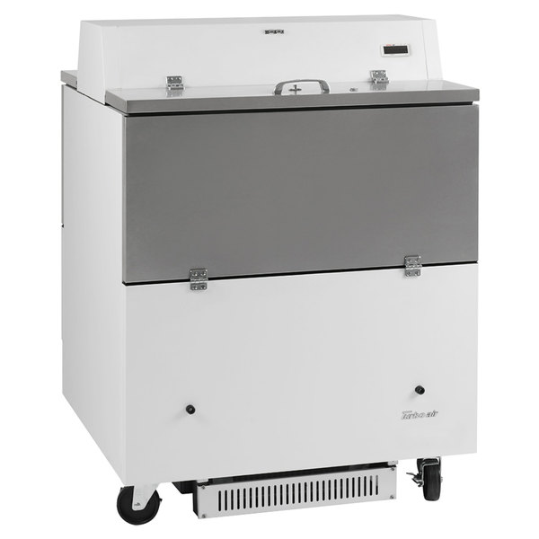 "Turbo Air TMKC-34D-N-WA Super Deluxe 34"" Dual Sided White Vinyl and Stainless Steel Milk Cooler with Aluminum Interior"