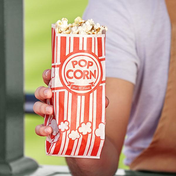"""Carnival King 3 3/4"""" x 1 3/4"""" x 9 1/2"""" 1.1 oz. Popcorn Bag - 1000/Case Main Image 2"""