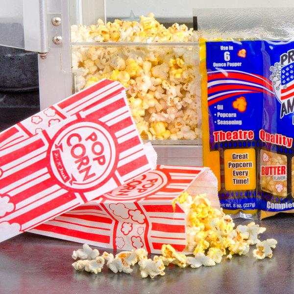 """Carnival King 3 3/4"""" x 1 3/4"""" x 9 1/2"""" 1.1 oz. Popcorn Bag - 1000/Case"""