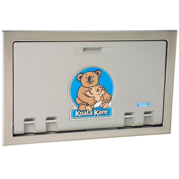 Koala Kare KB100-01ST Horizontal Recessed Mounted Baby Changing Station / Table with Stainless Steel Flange - Gray