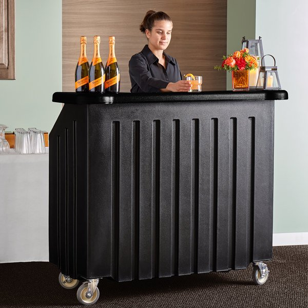 "Cambro BAR540DS670 Coal and Black Designer Series Cambar 54"" Portable Bar with 5-Bottle Speed Rail Main Image 5"