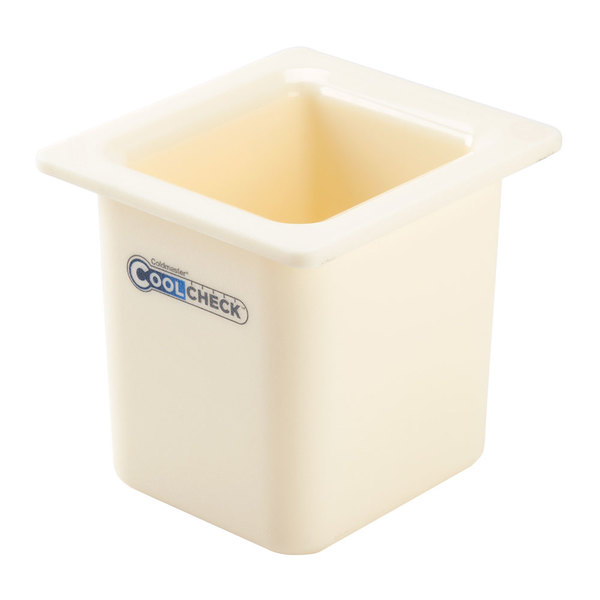 "Carlisle CM1105C1402 Coldmaster CoolCheck 1/6 Size White High Capacity Cold ABS Plastic Food Pan - 6"" Deep Main Image 1"