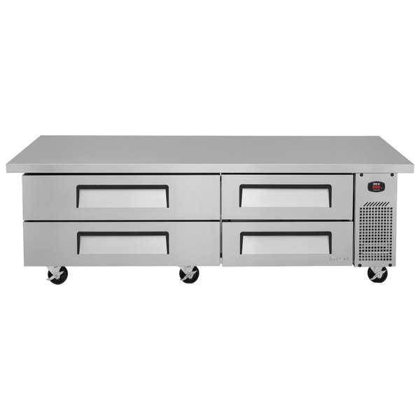 """Turbo Air TCBE-72SDR-E-N 72"""" Four Drawer Refrigerated Chef Base with Extended Top"""